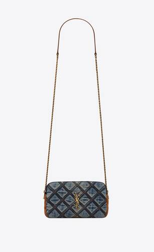 becky double-zip pouch in quilted vintage denim and suede