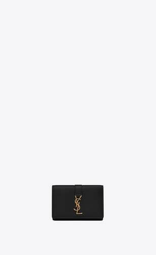 ysl-schlüsseletui aus schwarzem leder