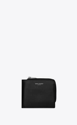 saint laurent paris east/west zip wallet in smooth leather