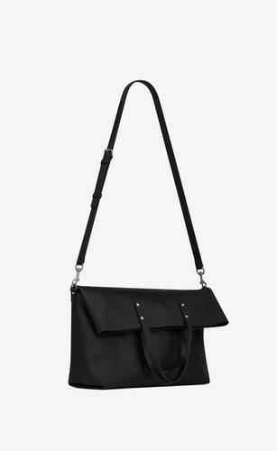 ethan foldable shopping bag in grained leather