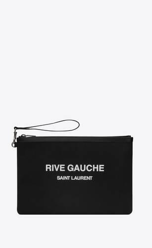 rive gauche zippered pouch in bias canvas