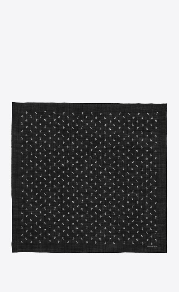 anchor-printed large square scarf in wool twill
