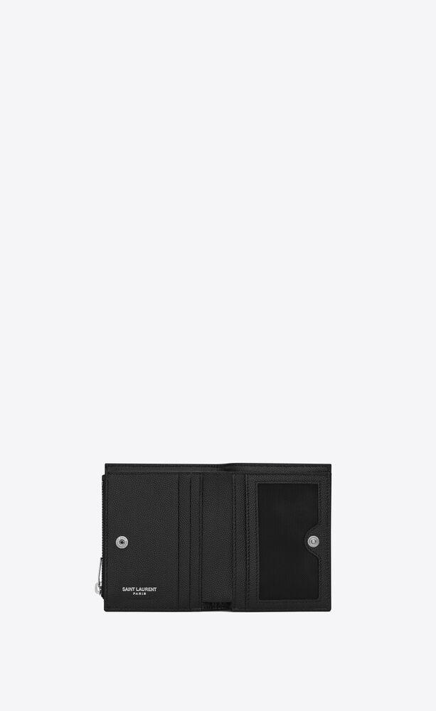 porta carte con zip nero in pelle a texture e trapuntata