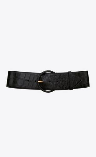 cinturón corsé con hebilla semicircular de piel repujada de cocodrilo