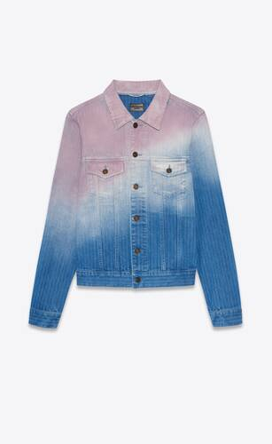 fitted jacket in blue and pink dégradé denim