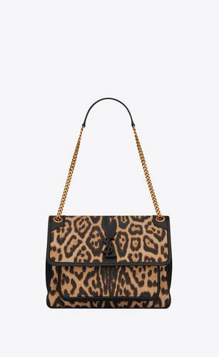 niki medium in leopard-print canvas and smooth leather