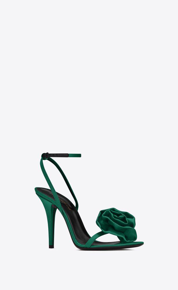 ivy blumen-sandalen aus seiden-satin