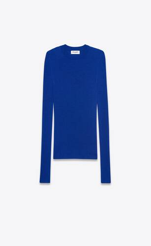 ribbed crewneck sweater in cashmere, wool and silk
