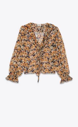 blouse nouée et volantée en georgette de soie fleurie
