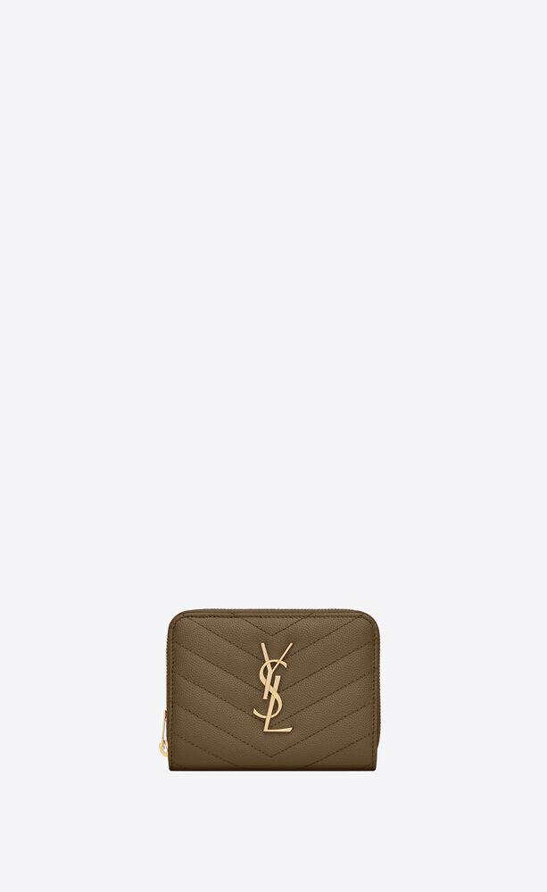 monogram kompaktes lederportemonnaie mit durchgehendem reißverschluss und grain-de-poudre-prägung