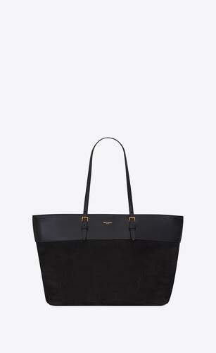 boucle medium e/w shopping bag in crocodile-embossed nubuck and smooth leather