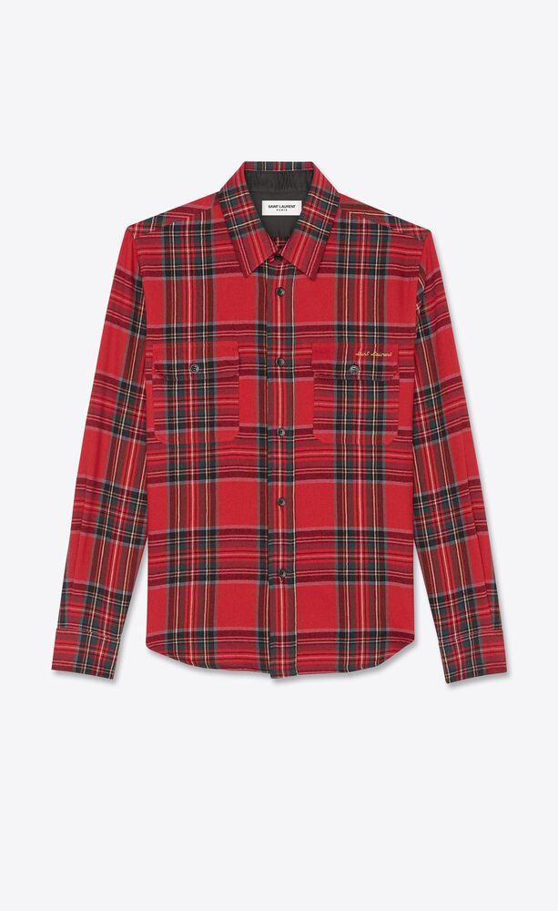 saint laurent-embroidered overshirt in tartan flannel