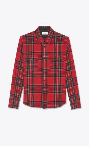 saint laurent-embroidered overshirt in tartan flannel
