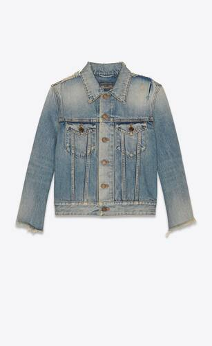 destroyed fitted jacket in rodeo blue denim