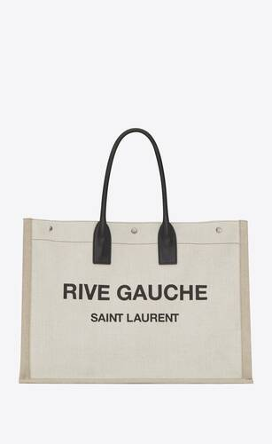 rive gauche large tote bag in printed canvas and leather