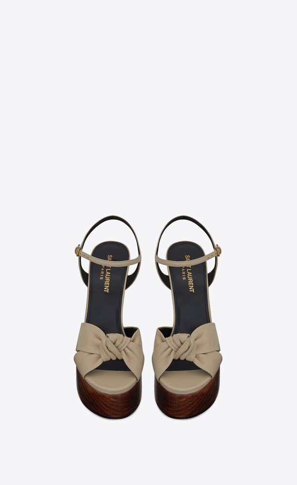 sandalias bianca de piel lisa y madera