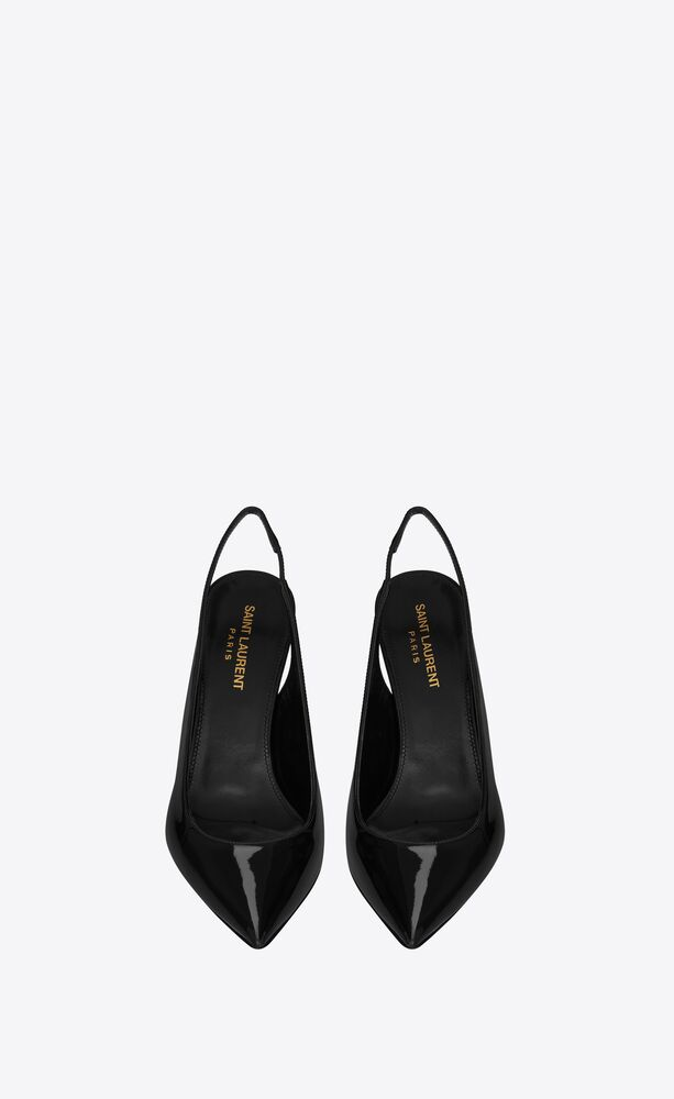 opyum slingback pumps in patent leather with black heel