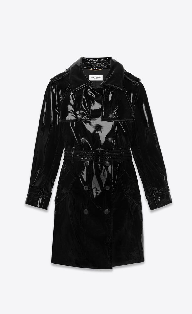 trench coat in stretch vinyl