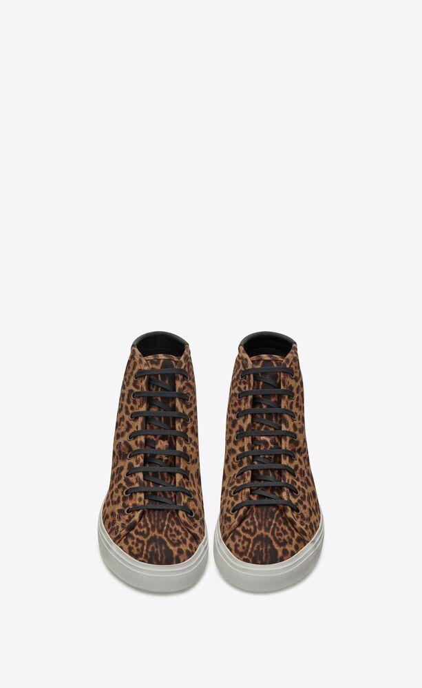 sneakers de media caña malibú de lona con estampado leopardo y piel