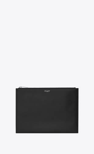 saint laurent paris zip tablet holder in grain de poudre embossed leather