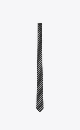 narrow tie in striped silk and wool