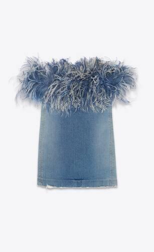 robe en denim portobello blue et plumes