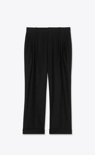 high-rise pleated pants in wool gabardine