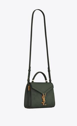 cassandra mini top handle bag in box saint laurent leather and suede