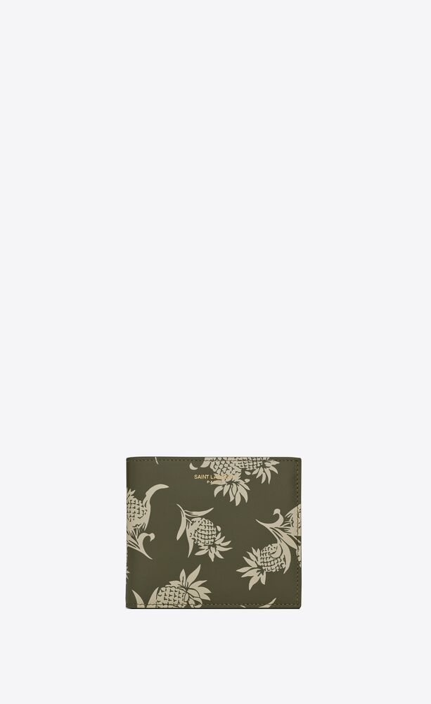 saint laurent paris east/west wallet in pineapple-print leather