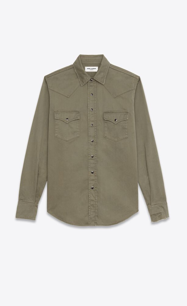 distressed classic western shirt in khaki stonewashed denim