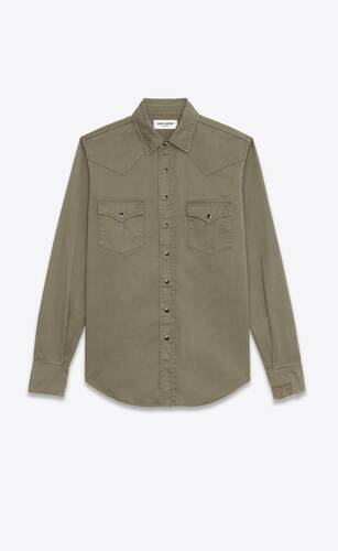 distressed classic western shirt in khaki stonewashed denim