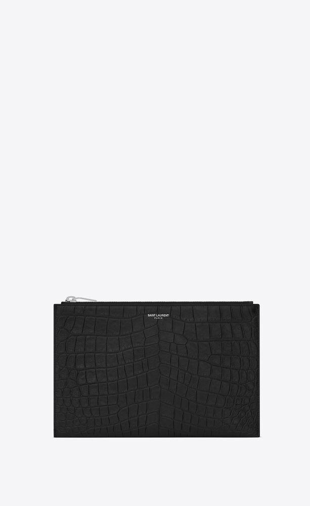 saint laurent paris zippered mini tablet sleeve in crocodile embossed leather