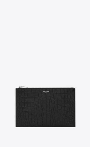 saint laurent paris zipped mini tablet sleeve in crocodile embossed leather