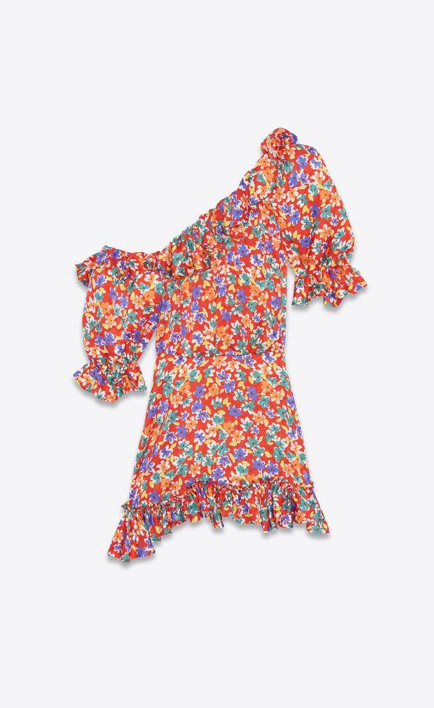 フローラルシルクのワンショルダーバルーンスリーブドレス