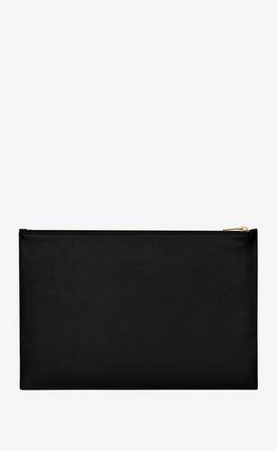 saint laurent xl flat pouch in shiny leather