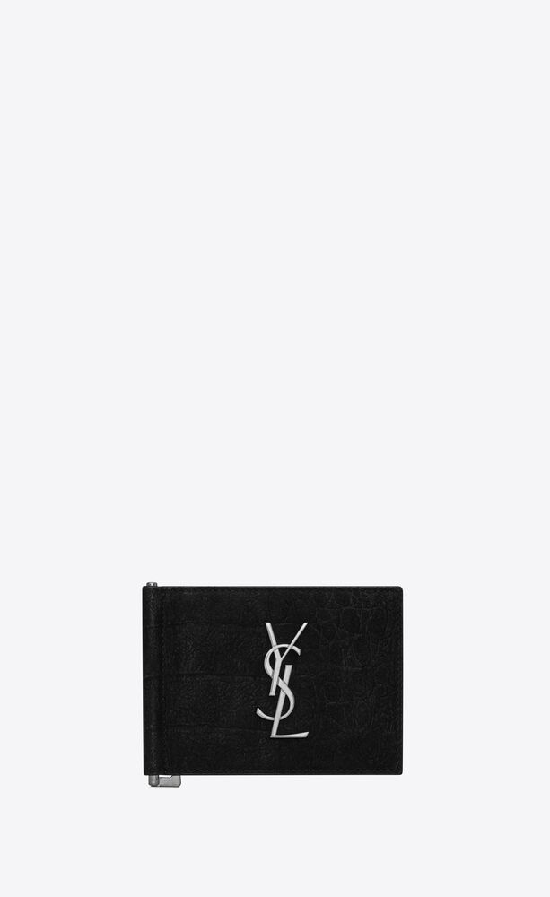 monogram bill clip wallet in crocodile-embossed nubuck