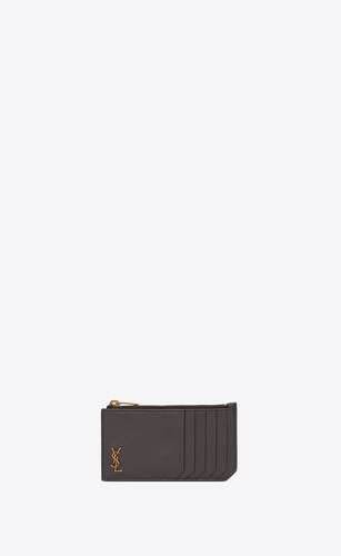 tiny monogram fragments zipped card case in grained leather