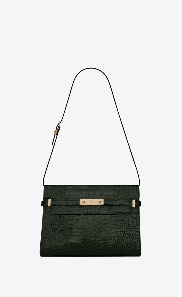 manhattan shoulder bag in crocodile-embossed shiny leather