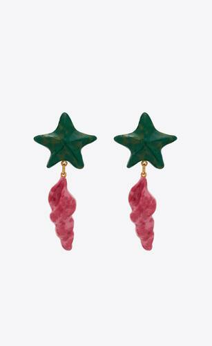 starfish and seashell pendant earrings in metal and resin