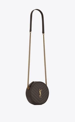 vinyle sac rond en cuir embossé grain de poudre et matelassé chevrons