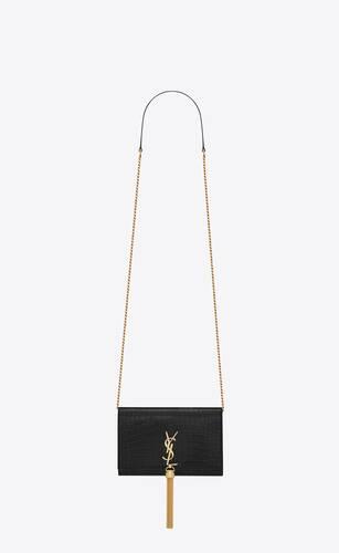 테슬을 장식한 크로커다일 엠보스드 샤이니 가죽 소재의 케이트 체인 지갑