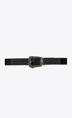ceinture monogramme cheyenne en cuir lisse