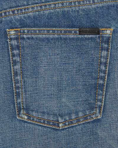 cropped high-rise '70s jeans in fall blue denim