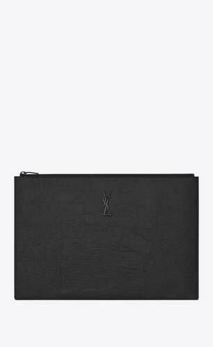 saint laurent dokumentenmappe aus schwarzem leder mit krokodillederprägung mit reißverschluss