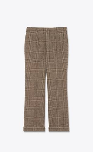 pleated low-rise pants in prince of wales tweed