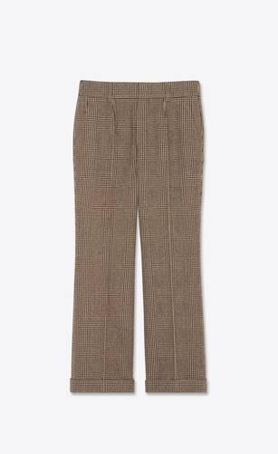 pantalon taille basse à plis en tweed prince de galles