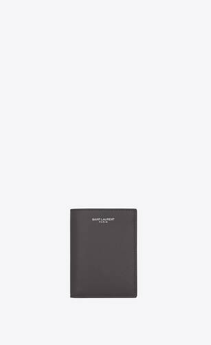saint laurent credit card wallet in grain de poudre-embossed leather