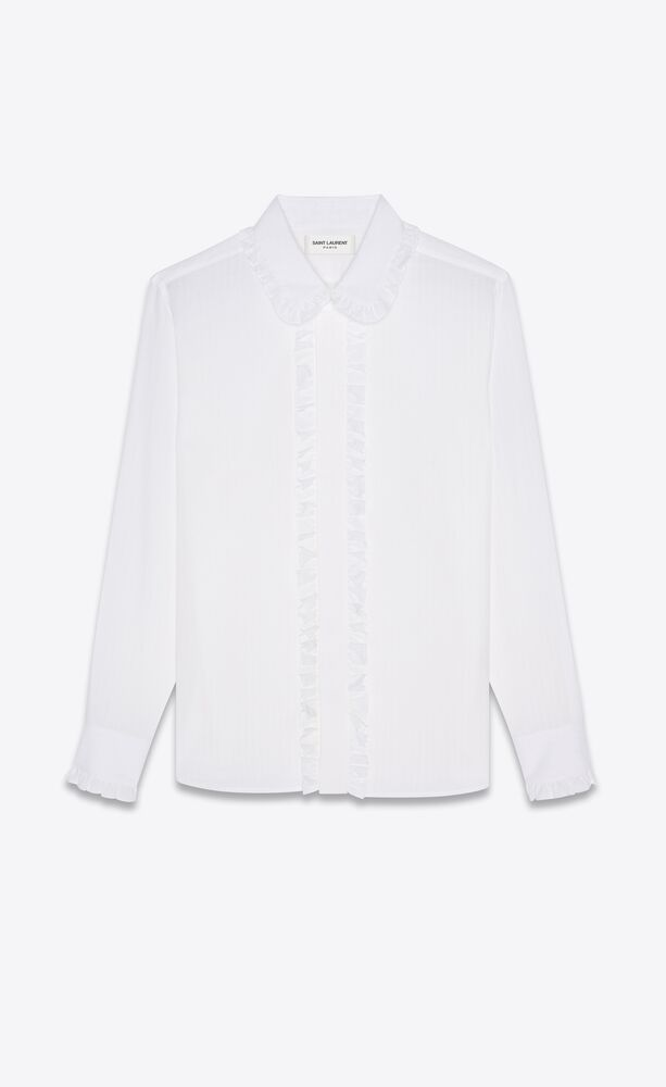 frilly fitted shirt in cotton voile