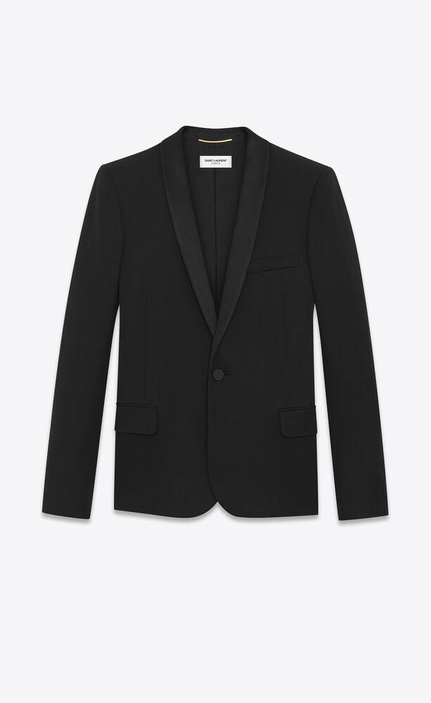shawl collar tuxedo jacket in grain de poudre saint laurent