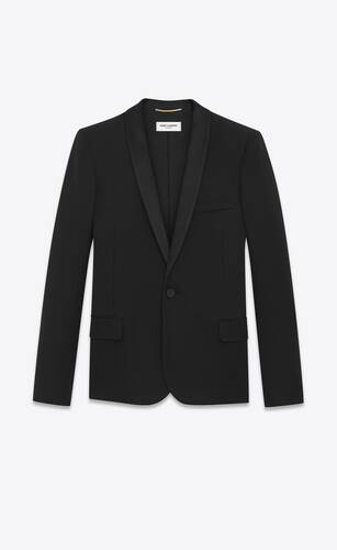 shawl collar tuxedo jacket in grain de poudre saint laurent